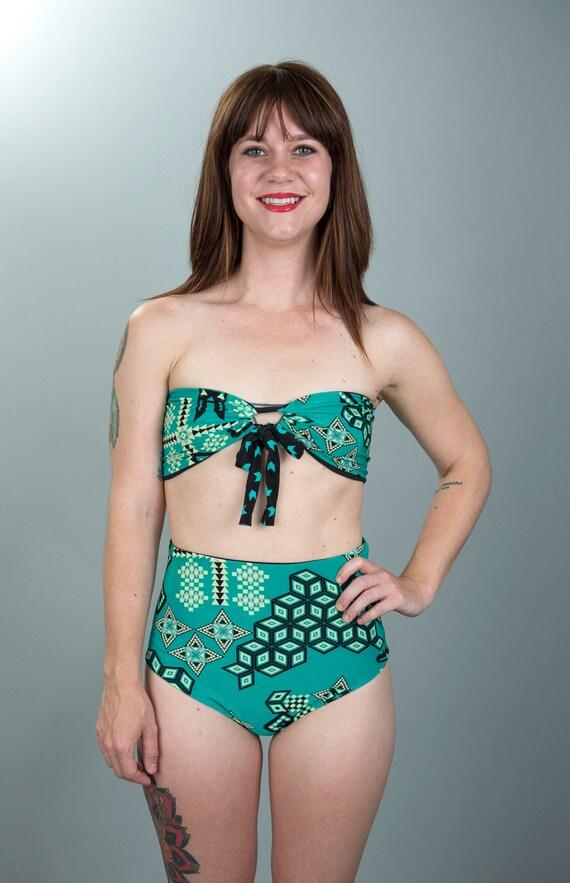 reversible high waisted teal geometric print bikini bottoms size small medium large