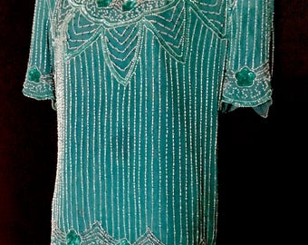 Vintage Teal 2 Piece Bead and Sequin Outfit            VG289