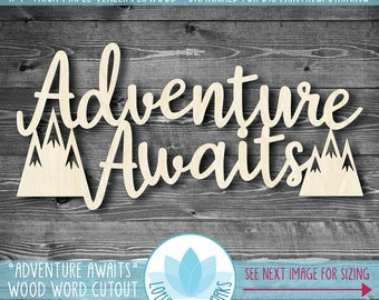 Adventure Awaits Wood Word Wall Art, Gallery Wall Words, Mountain Nursery Wall Art, Large Laser Cut Wood Words, Unfinished For DIY Painting