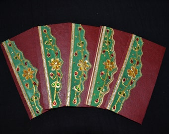 Handmade Money Holder Set, Shagan Envelopes, Indian Wedding, Fancy Money Envelopes, Cash Envelopes, Maroon Envelopes for Indian Wedding,