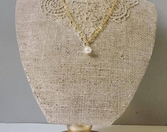 Pearl necklace 18k gold plated