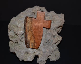 Live Edge Wood Cross; Small Wood Cross; Wall Cross Decor; Crooked Cross; Mesquite; Handmade;  Free Ground Shipping USA;  cc5-7030118