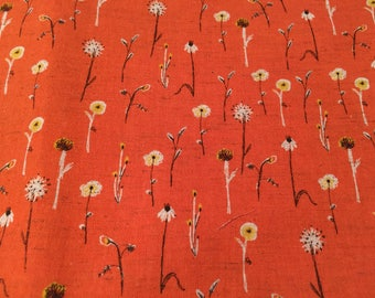 Heather Ross Kokka Far Far Away 3 Meadow Flowers in Orange/Red FQ