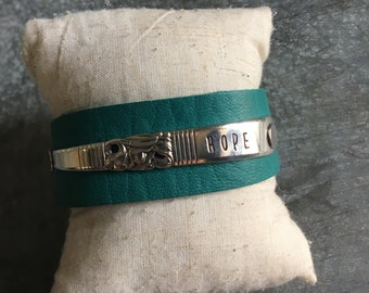 Hope Turquoise Spoon Handle Leather Cuff