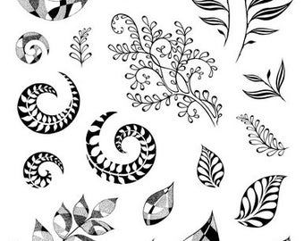 Designs by Ryn - Unmounted Rubber Stamp Set  Spirals and Leaves Um-L2