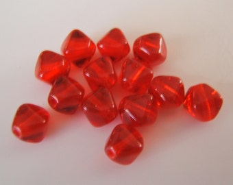 25 - Ruby Red Czech Glass Bi-cones