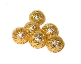 12mm Round Gold Filigree Metal Beads, approx. 25 beads