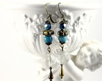Vintage Hand Beaded Assemblage Earrings - Antique Round Pressed Glass Beads - Peacock Blue and Aqua - Altered Jewelry by Boutique Bijou