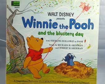 Walt Disney 1967 Record-Winnie the Pooh and the Blustery Day Storybook Record-Sterling Holloway-Sam Edwards-Vintage Children's Storybook-