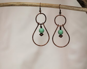 COPPER EARRINGS with turquoise beadS~ Hand Forged Copper Jewelry~ Hammered Copper Jewelry~ Copper Earrings~ Boho Style~ gift for her