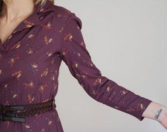 1970s Dress with flower pattern Purple Dress XS/S