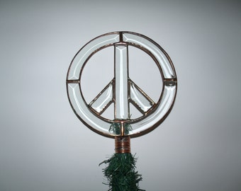 Rustic Peace Sign Christmas Tree Topper, Clear Beveled Glass Peace Decoration, Unique Tree Topper, Peace Symbol