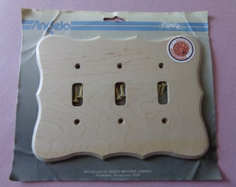 Triple Switch Plate Cover Decorator wood Switchplate Angelo Unfinished NOS New Old Stock Cover