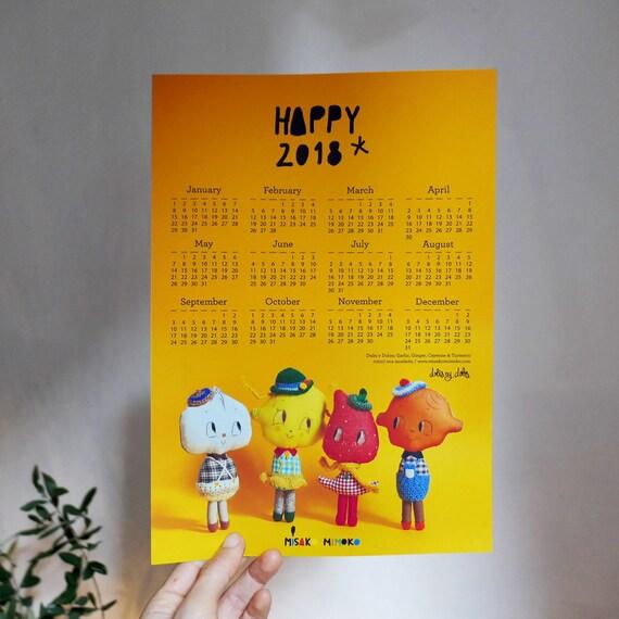 2018 Printable Calendar. Wall Art Calendar. 2018 Digital