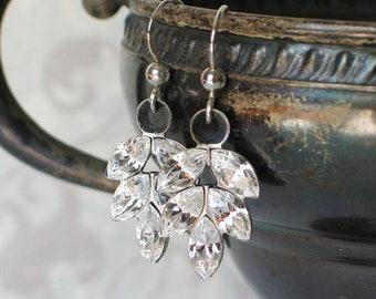 Vintage Swarovski Glass Rhinestone and Silver Leaf Earrings, Rhinstone jewelry