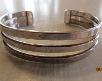 Three Bands of Sterling Silver Cuff Bracelet