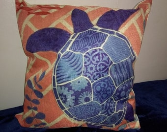 Nautical turtle throw pillow