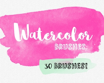 Watercolor Brushes // Watercolor Photoshop Brushes // Photoshop Brush Set // Watercolor Swatches // Watercolor ClipArt // Commercial Use