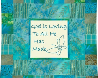 GOD IS LOVING --- Hand Embroidery E-Pattern Printable Download Pdf Diy Simple Free Shipping Easy to Do Teal Blue White Christian Home Decor
