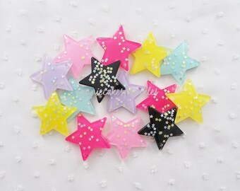 6pcs - Pretty Confetti Starry Star Fairy Kei Mix Flatback Decoden Cabochon (49mm) STR008