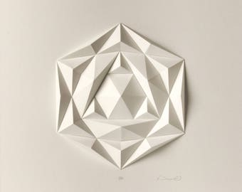 Wall Sculpture-3D Wall Art-Origami-White Paper Relief Hanging-Gift for Architect-Modern Minimalist Mosaic-Abstract Concrete-Icosa3M1