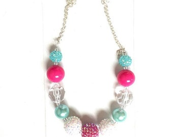 Sale***Dark pink, aqua-mint, white and clear chunky bead simple necklace with silver chain, beautiful classic necklace.  21 inches long-RTS.