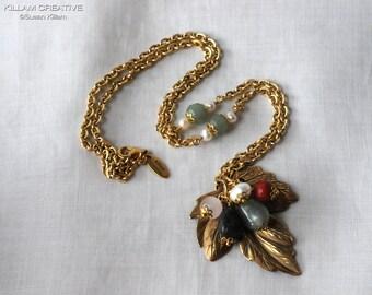 Leaf Pendant Necklace, Labradorite, Rose Quartz, Aventurine, Pearl, Aquamarine, Necklace, Gold Tone, N121
