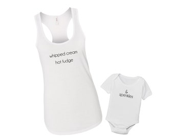 Ice Cream Love Whipped Cream Fudge + Sprinkles - Mommy & Me Baby Matching Shirt Set