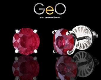 Genuine ruby stud earrings 14K solid white gold studs Natural ruby earrings Gold stud earrings Ruby jewelry July birthstone jewelry