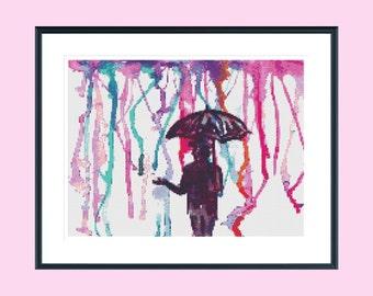 Cross stitch pattern, modern cross stitch pattern, pink umbrella watercolour cross stitch pattern, instant download