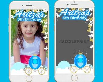 CINDERELLA PRINCESS GEOFILTER Plus Family & Friends Message   Custom Personalized Snapchat Geofilter   Cinderella Princess Birthday Party