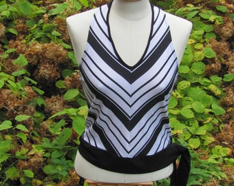 "Vintage Top; Vintage Halter Top; Black & White Striped Jersey Halter Top made in UK. Women's Summer Top size S / Bust 34""/ 86cm"