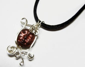 Wire Wrap Polymer Clay Man in the Moon Face Bead Pendant