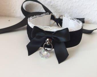 White Gothic Velvet Kitten Play BDSM Collar