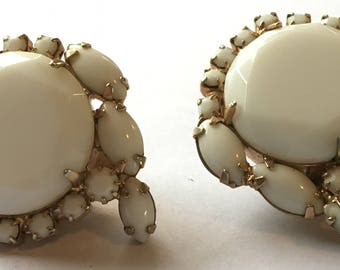 Vintage Hattie Carnegie Milk Glass Earrings Clip Ons