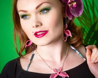 Flamingo necklace - laser cut acrylic