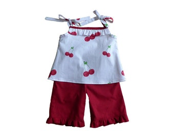 Set top + pants 9 to 12 months / birthday gift / set baby girl vintage style