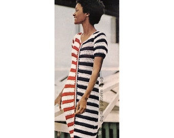Crochet Cover Up Pattern 4th of July Striped Mesh Beach Dress Crochet Pattern Womens Zipper Front Dress Instant Download PDF C119