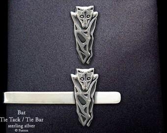 Bat Tie Tack or Bat Tie Bar / Tie Clip Sterling Silver