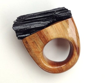 SALE 15% OFF  Glass Tower River Wood & Black Tourmaline Ring