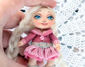 brooch textile doll