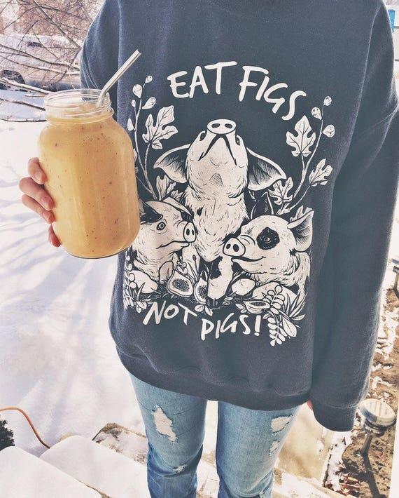 Eat Figs Not Pigs CREWNECK Vegan Sweatshirt (Dark Heather Grey) 7zJOp