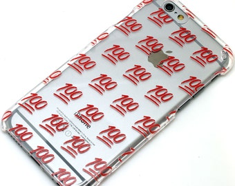 100 Emoji Icon Red Transparent Clear Phone Case iPhone 6, 7, SE, 6 Plus, 7 Plus, 6S, 5, 5C, 5S, Galaxy S6, S7, Note 5, Note 7