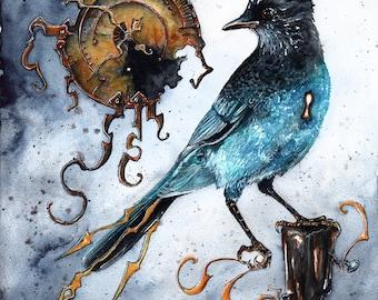 Constructs of Time: Fine Art Bluejay Steampunk Bird Print
