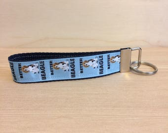 Beagle on navy key ring - key fob - key ring wristlet - key fob wristlet - ribbon on webbing key ring wristlet