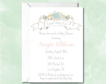 Baby Shower Invitation, French Bakery, Flowers, Patisserie, Vintage Floral