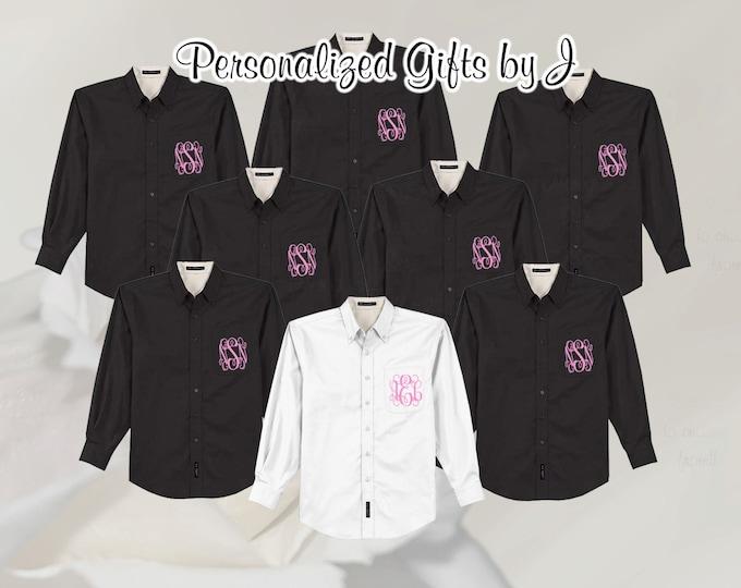 7 Monogrammed Oversized Bridal Party Shirt, Set of 7 Personalized Oversized Shirt, Bridesmaids Gift, Bachelorette Party