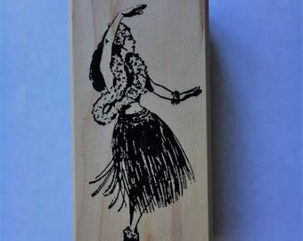 Hula Girl Rubber Stamp *Vintage Hula Girl*