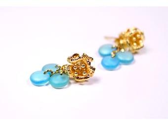 light blue matte stud earrings gold mini flower studs gold flower blue jewelry gift ideas for girls earrings gifts under пя47