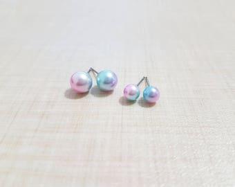 Monoria Studio Handmade Pierced Candy color Unicorn Pearl Earrings!
